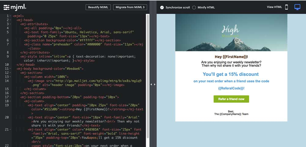 MJML Email Template