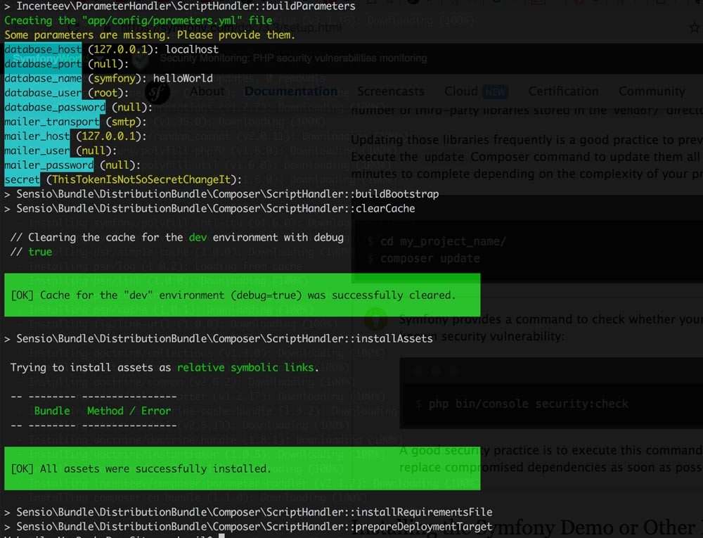 install symfony with composer and set DB info