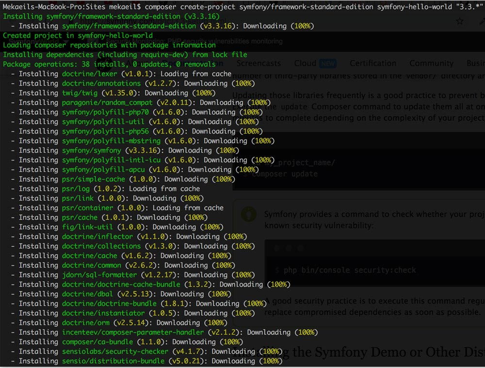 install symfony with composer