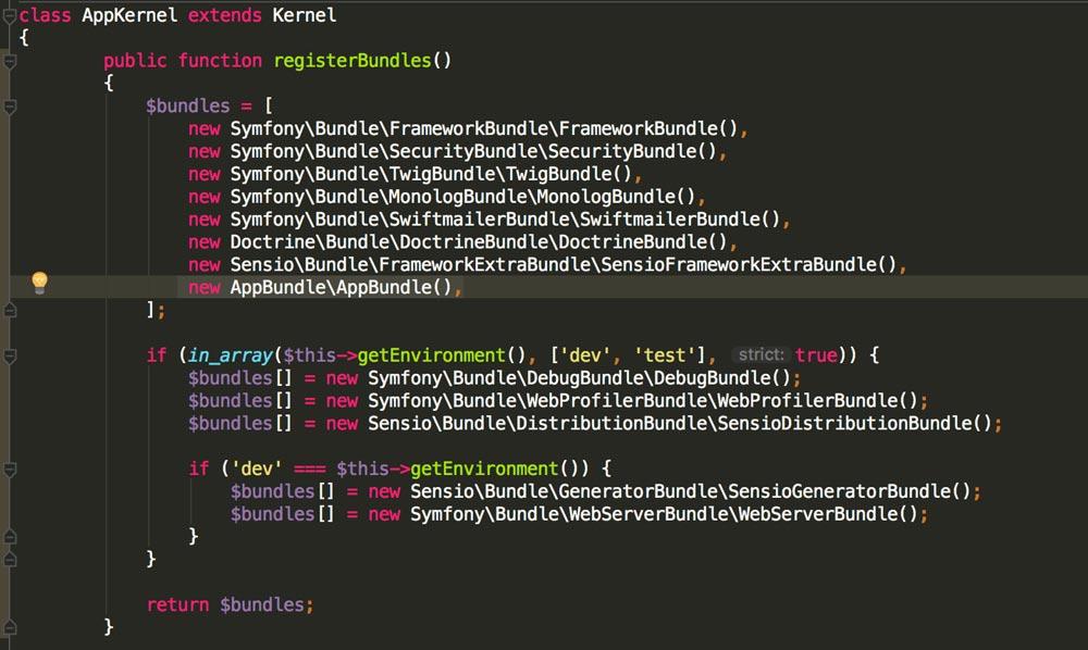 Register Bundles in Appkernal file  in Symfony