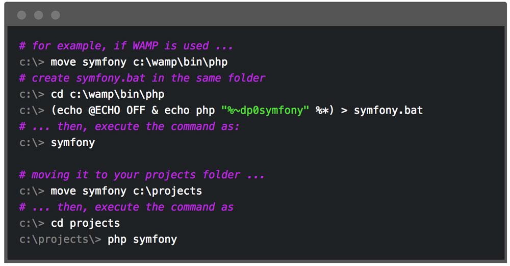 set symfony installer on windows