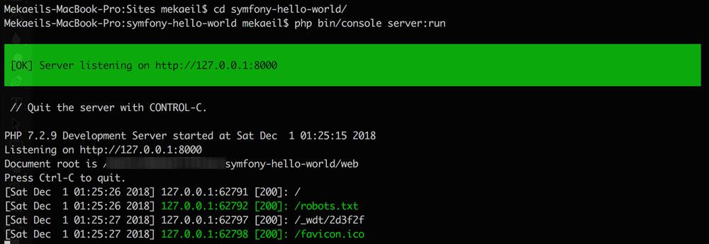 install web server symfony