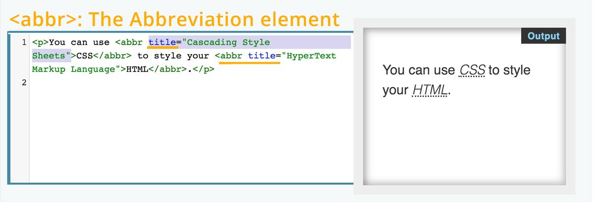 The Abbreviation element